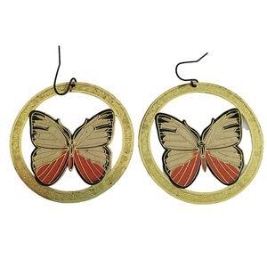 Butterfly Earrings Orange Gold Tone Filigree Textu